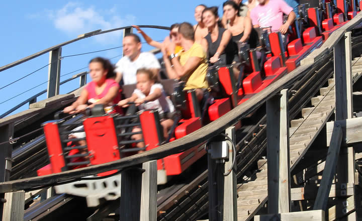 Rollercoaster ride in theme park