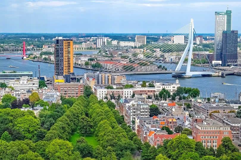 Rotterdam city centre view