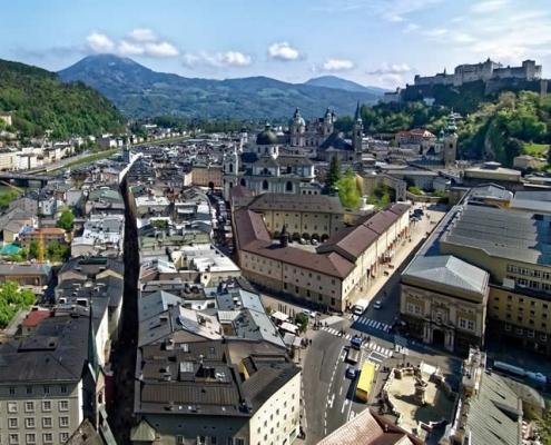 Salzburg city centre view