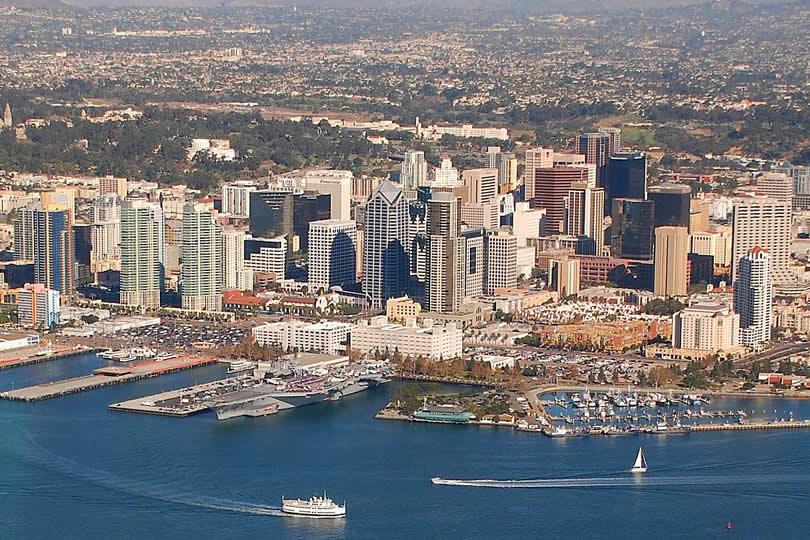 San Diego downtown in California