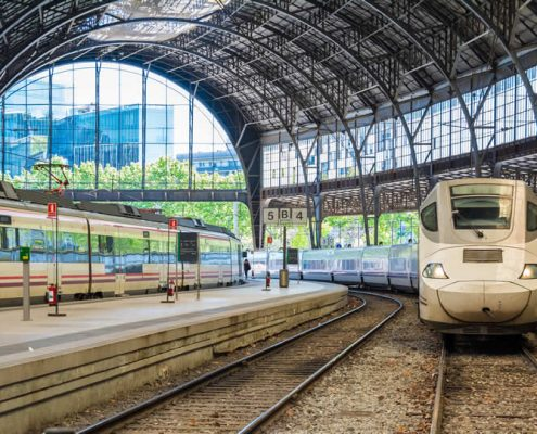 Spain Renfe high speed trains in stations