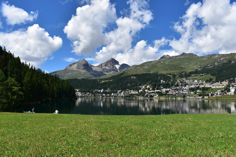 St Moritz town, lake and mountains