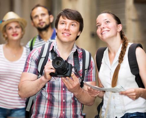 Tourists visiting a European city