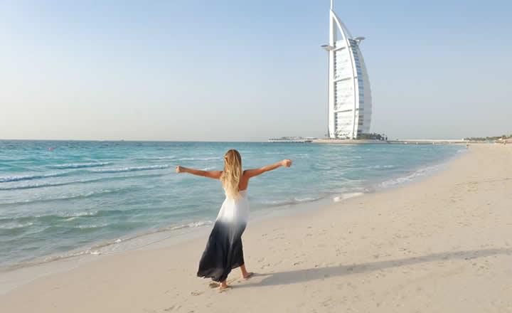 Woman on beach in Dubai