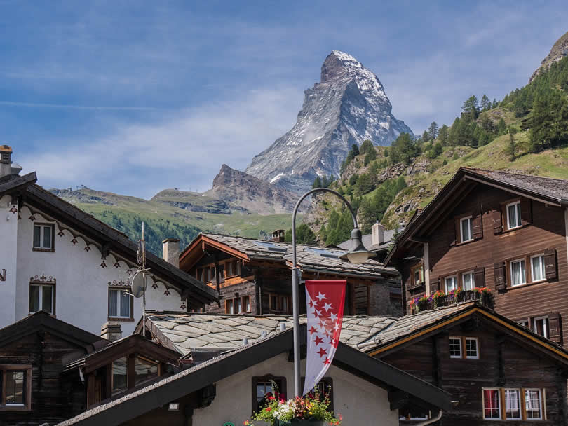 Zermatt Village view of Matterhorn Mountain