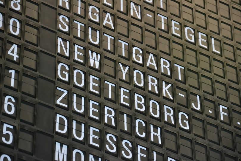 Zurich airport destinations board