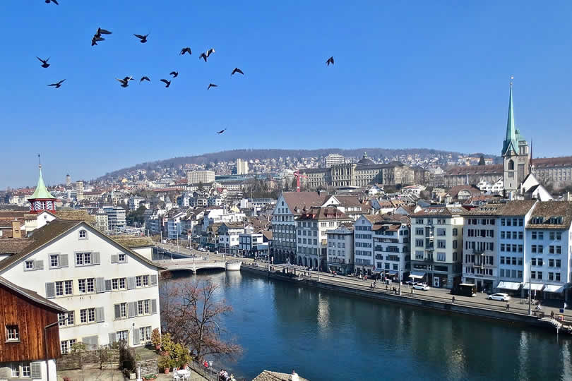 Zurich city centre and river